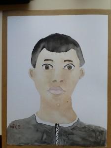 Portrait de jeune garçon à l'aquarelle