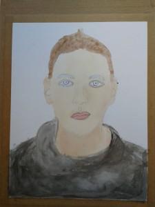 Portrait de jeune femme à la peinture aquarelle