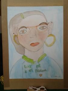 Portrait de jeune fille à l'aquarelle