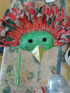 Masque d'oiseau paillettes vertes