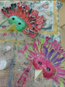 Masques réalisés par les enfants