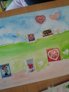 Peinture à l'aquarelle et timbres