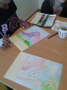 Dessins à l'aquarelle et au crayon de couleur