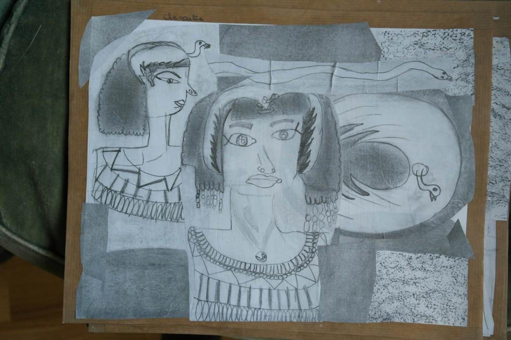 Dessin au crayon de Cléopâtre
