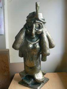 Buste peint en bronze