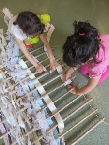 Paravents en tissage de matériaux textiles