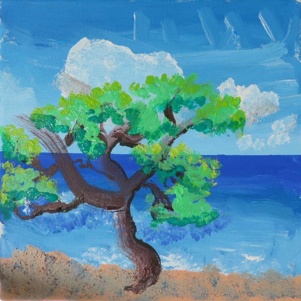 Paysage de mer à l'acrylique