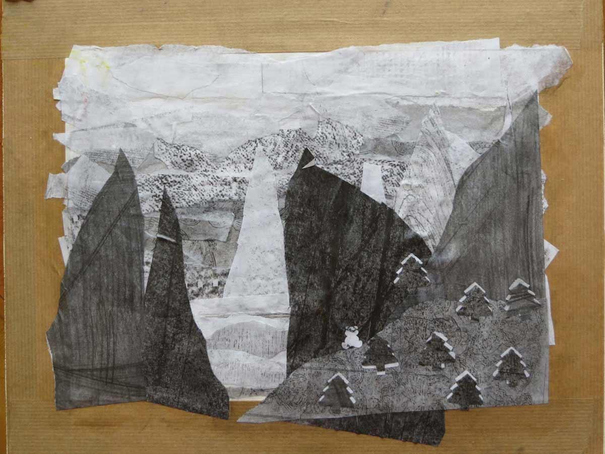cr ation de paysages au crayon papier et d coupage. Black Bedroom Furniture Sets. Home Design Ideas