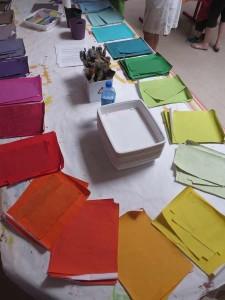 La table des papiers de couleur