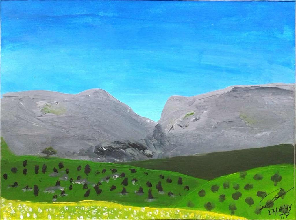 Paysage réalisé à la peinture