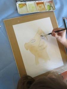 Peindre son dessin avec de la peinture aquarelle