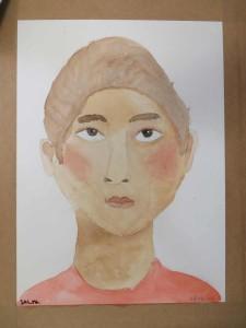 Portrait à l'aquarelle de Salma.