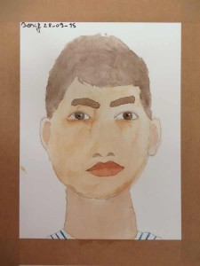 Autoportrait à l'aquarelle de Losif.