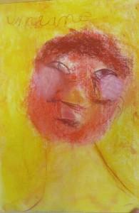 Autoportrait avec des craies de couleur
