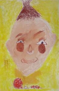 Visage d'enfant au pastel sec