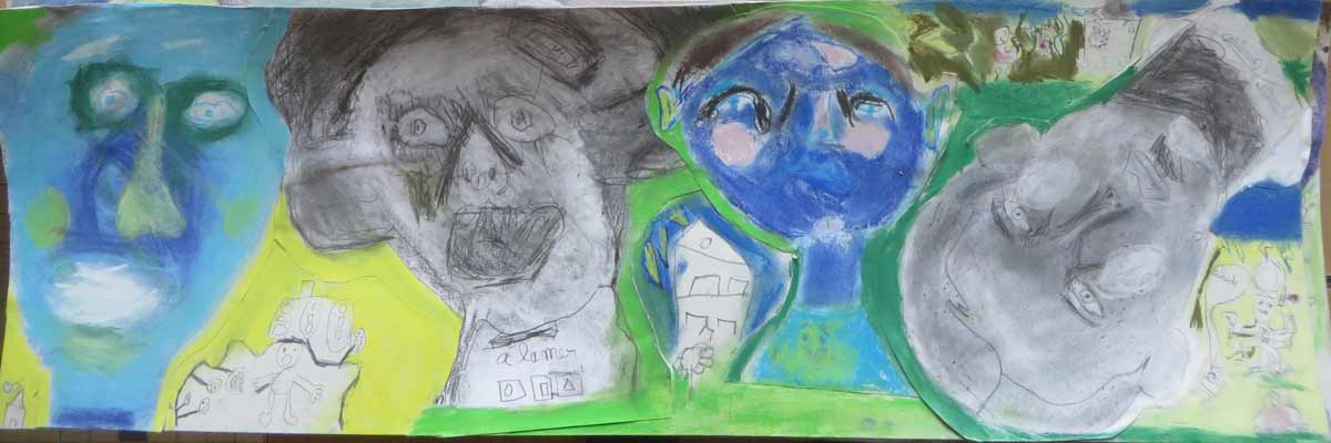 Portraits bleus et verts