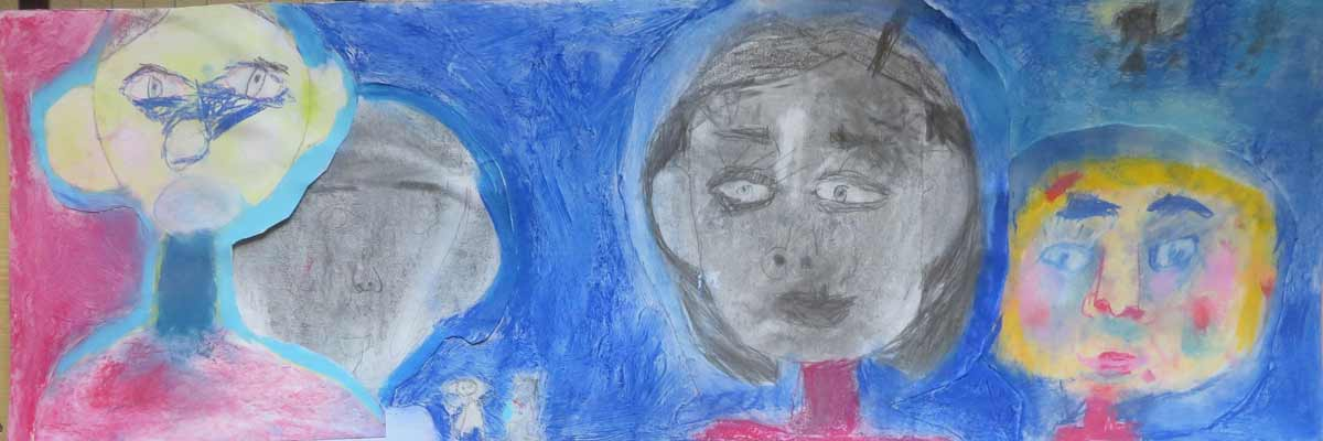 Portaits au crayon sur fond bleu