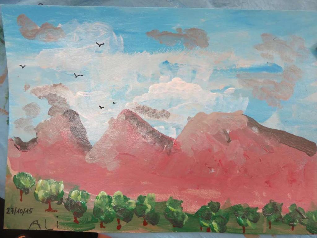 Paysage aux montagnes roses