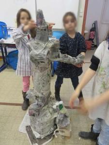 Les enfants fabriquent le chapeau de l'éléphant