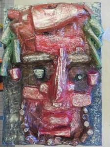 Portrait géant en papier mâché