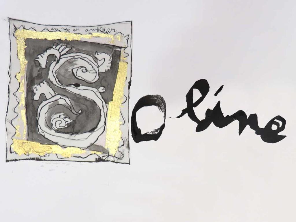 Prénom calligraphié avec lettre enluminée