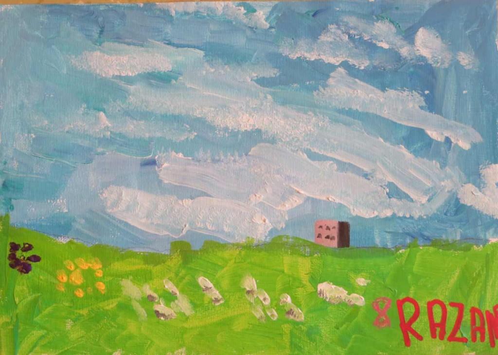 Prairie et ciel bleu