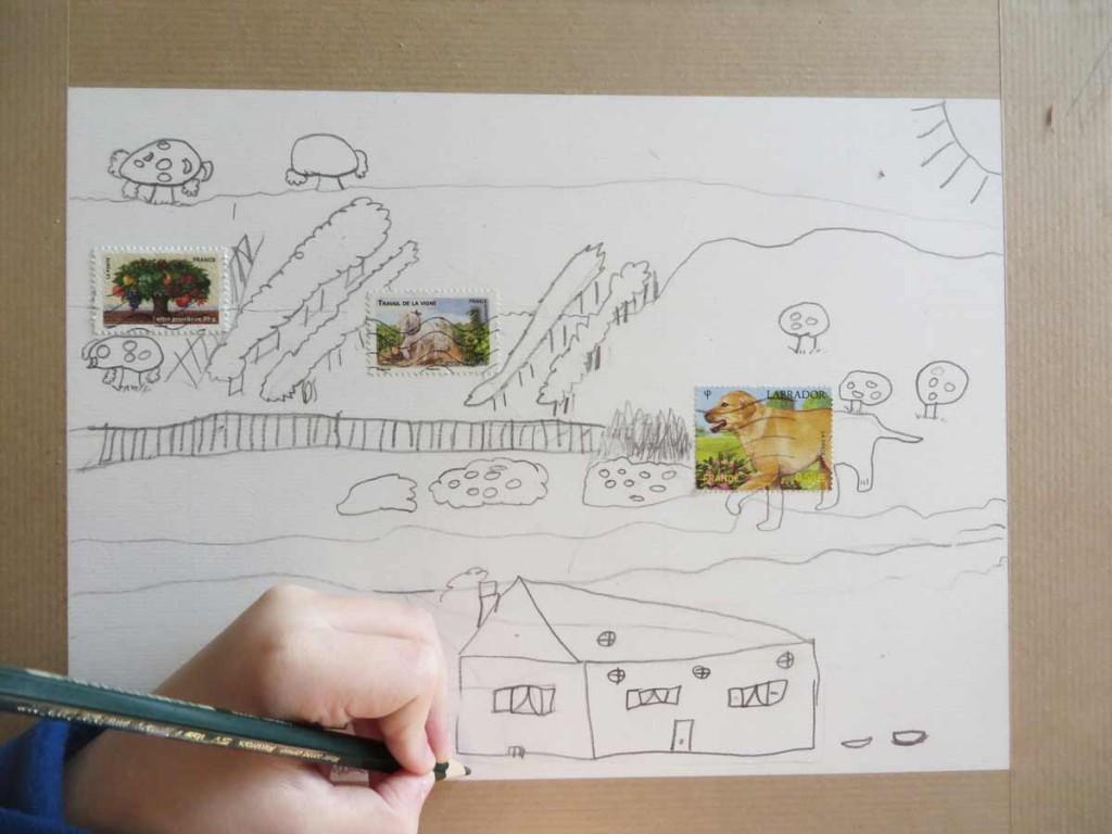 Inventer un dessin à partir de timbres