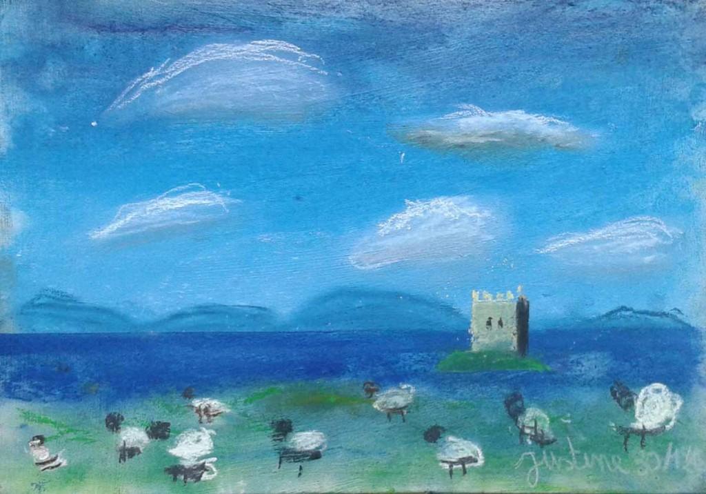 Moutons et chateau sur une île
