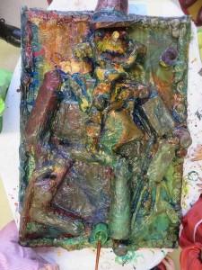 Le bas-relief a été peint