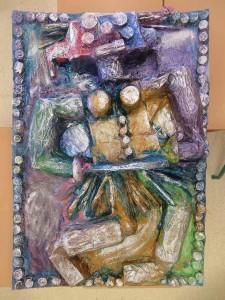 Le bas-relief avec sa pâtine argentée
