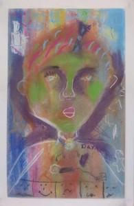 Portrait aux joues vertes