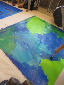 Peinture d'un fond bleu et vert