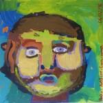 Portrait sur fond vert et bleu