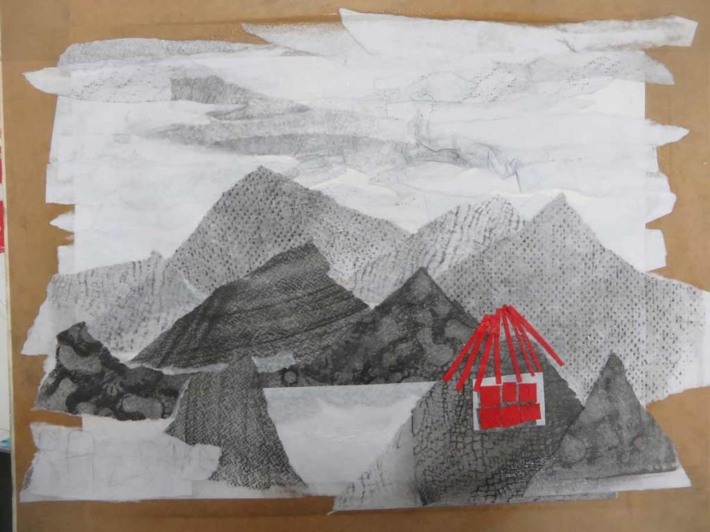 Montagnes, lac et petite maison rouge