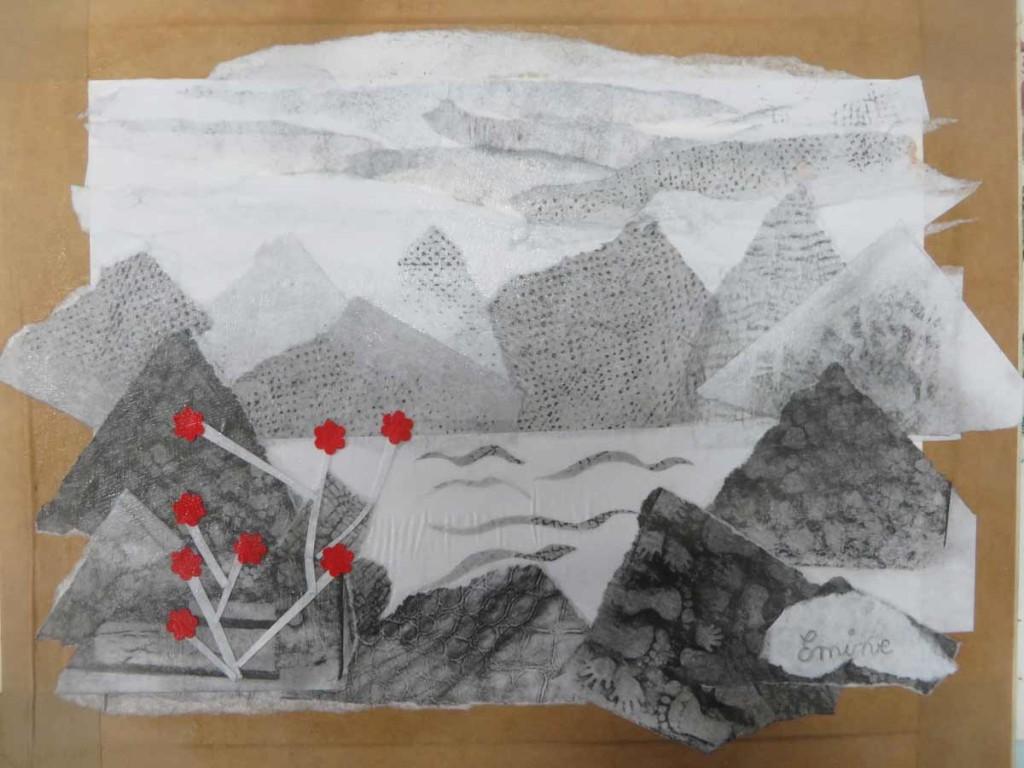 Paysage de montagne et fleurs