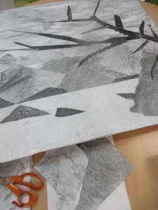 Tableau en collage et niveaux de gris