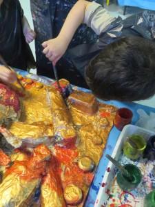 Mise en couleur des bas-reliefs