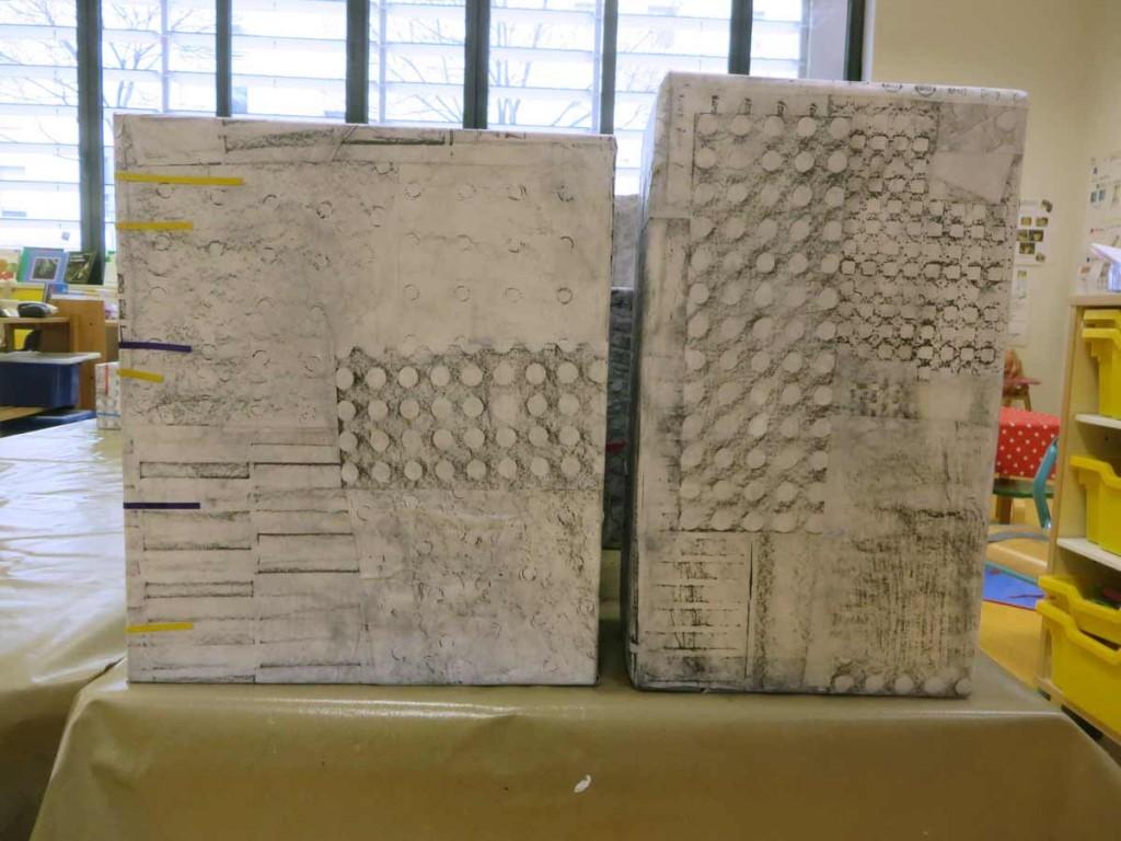 Empreintes par frottage au crayon à papier