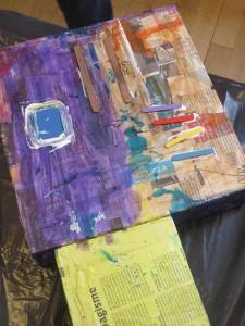 Encre acrylique et bâtonnets colorés