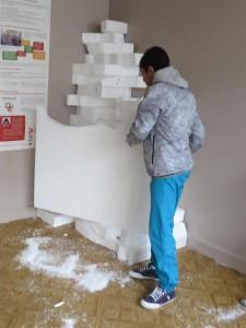 Stockage des chutes de polystyrène