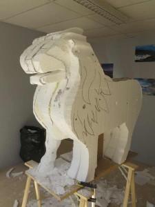 Ebauche de la sculpture en polystyrène