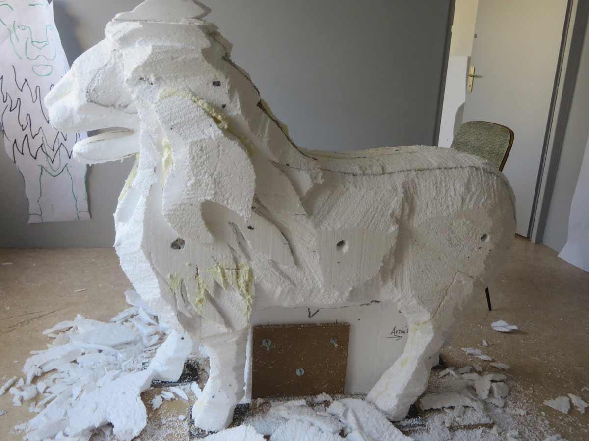 Sculpture de taulion dégrossie