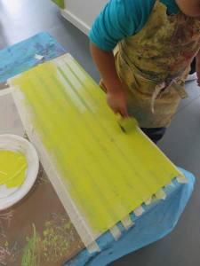 Recouvrir les scotchs de peinture verte