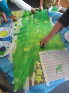 Peinture verte sur scotchs TESA