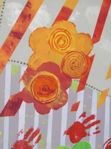 Pochoirs de fleurs et empreintes de mains
