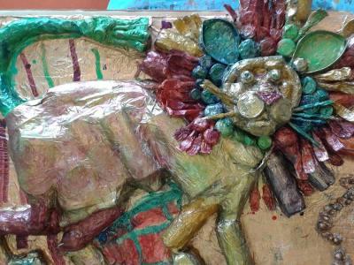 Mise en couleur du bas-relief