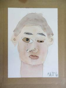 Autoportait d'enfant à l'aquarelle