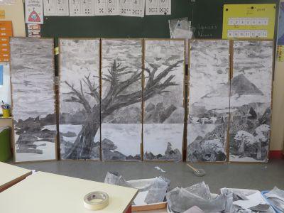 La fresque au bout de trois séances de travail