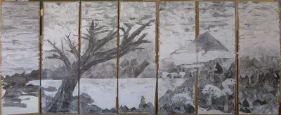 Paysage réalisé en collage à la maternelle