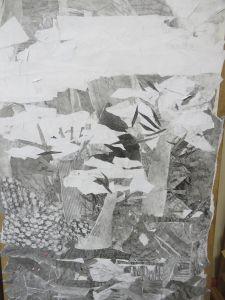 Détail de la fresque : les cerisiers blancs